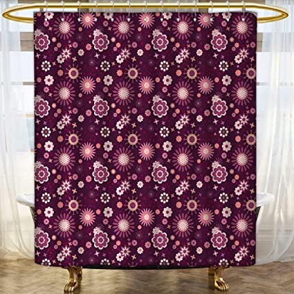 Eggplant Shower Curtains Waterproof Long Abstract Floral Arrangement With A Variety Of Cute Flowers In Calming