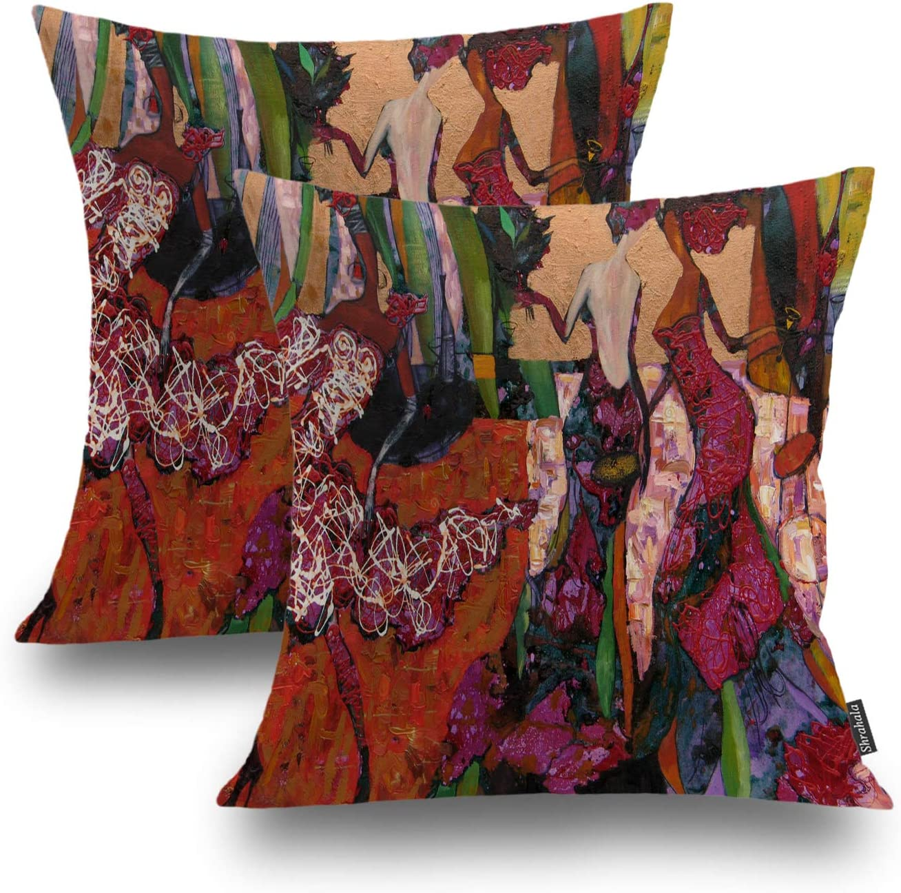 Shrahala Fashion Modern Decorative Pillow Covers, Abstract Silhouette Vibrant Cushion Case for Sofa Bedroom Car Throw Pillow Covers Cushion Cover Square 18 x 18 Inches Ivory, Set of 2