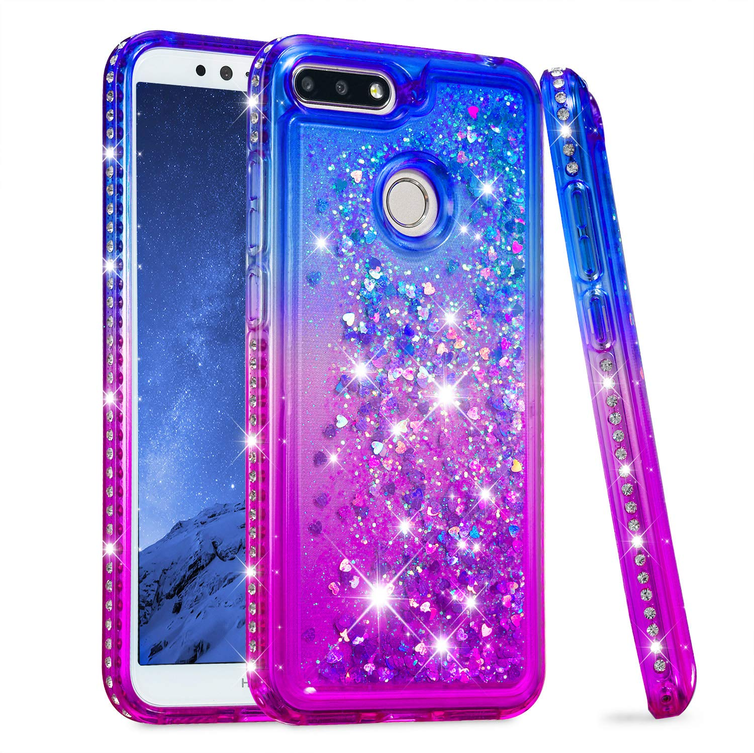 timeless design d5240 d3b03 Huawei Honor 7A Case, Huawei Honor 7A Glitter Liquid Case, Bosunny Liquid  Glitter Bling Flowing Case Cover, Premium Shockproof Anti-Scratch Back  Cover ...