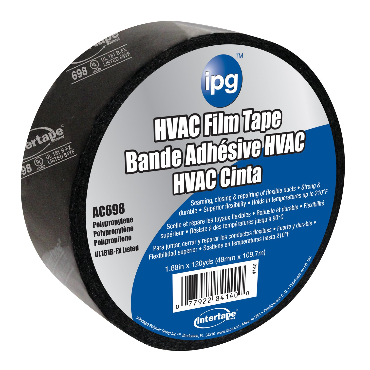 Intertape Polymer Group 4140 1.88-Inch x 120-Yard Acrylic Biaxial-Oriented PolyPropylene HVAC Tape, Black/White