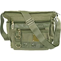 Storite Stylish Cotton Sling Cross Body Travel Office Business Messenger one Side Shoulder Bag for Men Women(Olive, 9.5x3.5x8.5 inch)