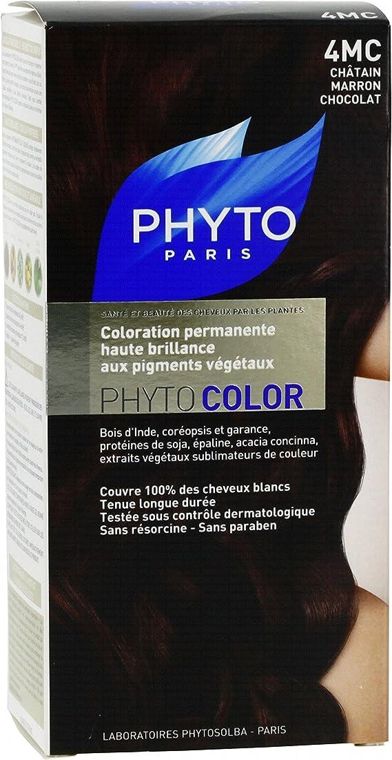 Phyto color coloración cuidado permanente brillante en los pigments vegetales (– Color: N ° 4 MC: Castaño Marrón Chocolate – Juego de 2