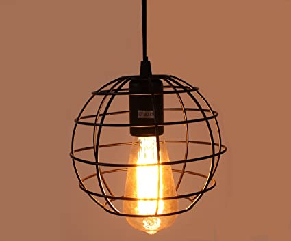 INNOCCY Cage Pendant Lighting Fixture, E26/E27 Industrial Light Cage ...