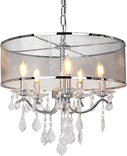 18.5 inch 5-Light Crystal Chandelier Ceiling Light