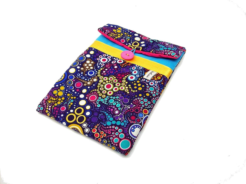 housse pour tablette 8 pouces turquoise et violet a bulles multicolores, pochette matelassée pour ipad mini en tissu graphique effervescence, etui 8 pouces matelassé, cadeau pour elle