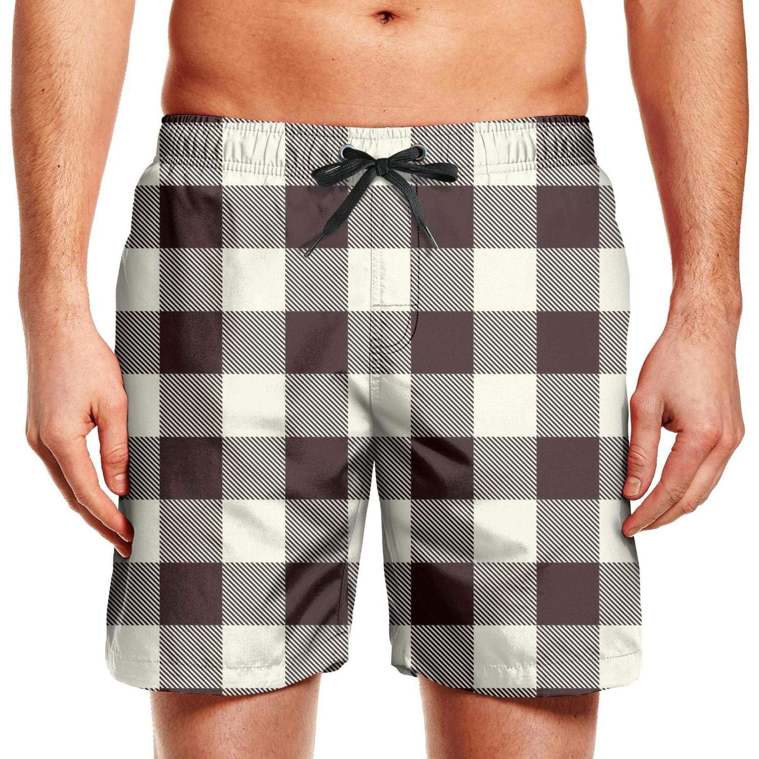 CCBING Mens Cool Brown British Plaid Checkerboard Classic Quick Dry Beach Swim Trunk