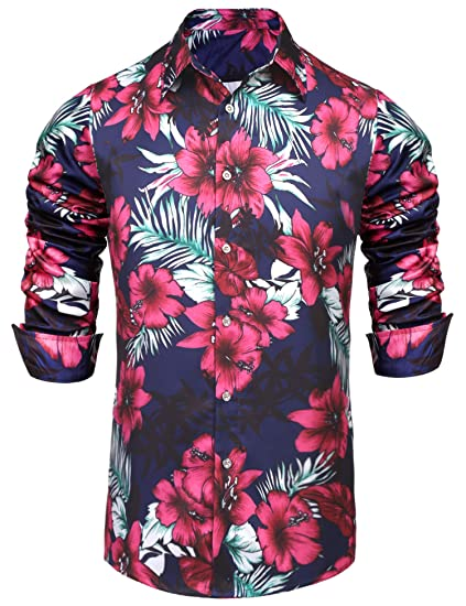 aab0fe802a0 Pacinoble Men s Floral Printed Slim Fit Long Sleeve Shirt Hawaiian ...