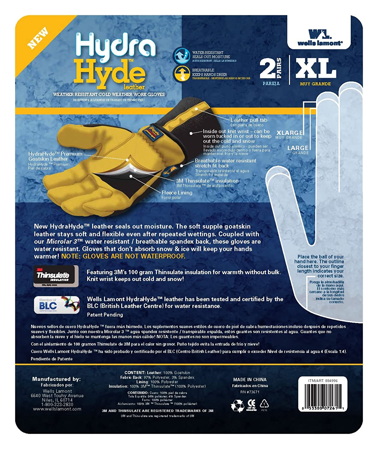 Insulated leather work gloves amazon - Wells Lamont Leather Work Gloves Insulated Grain Goatskin Hydrahyde Large 1206l Amazon Com