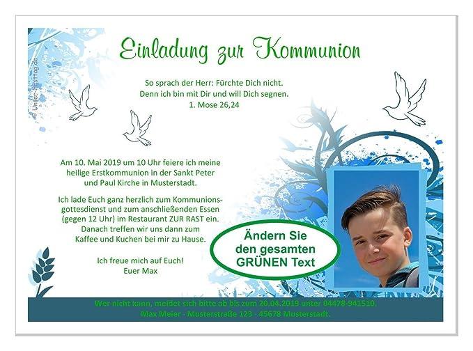 Einladungen Zur Kommunion Fur Junge Mit Oder Ohne Foto Susse