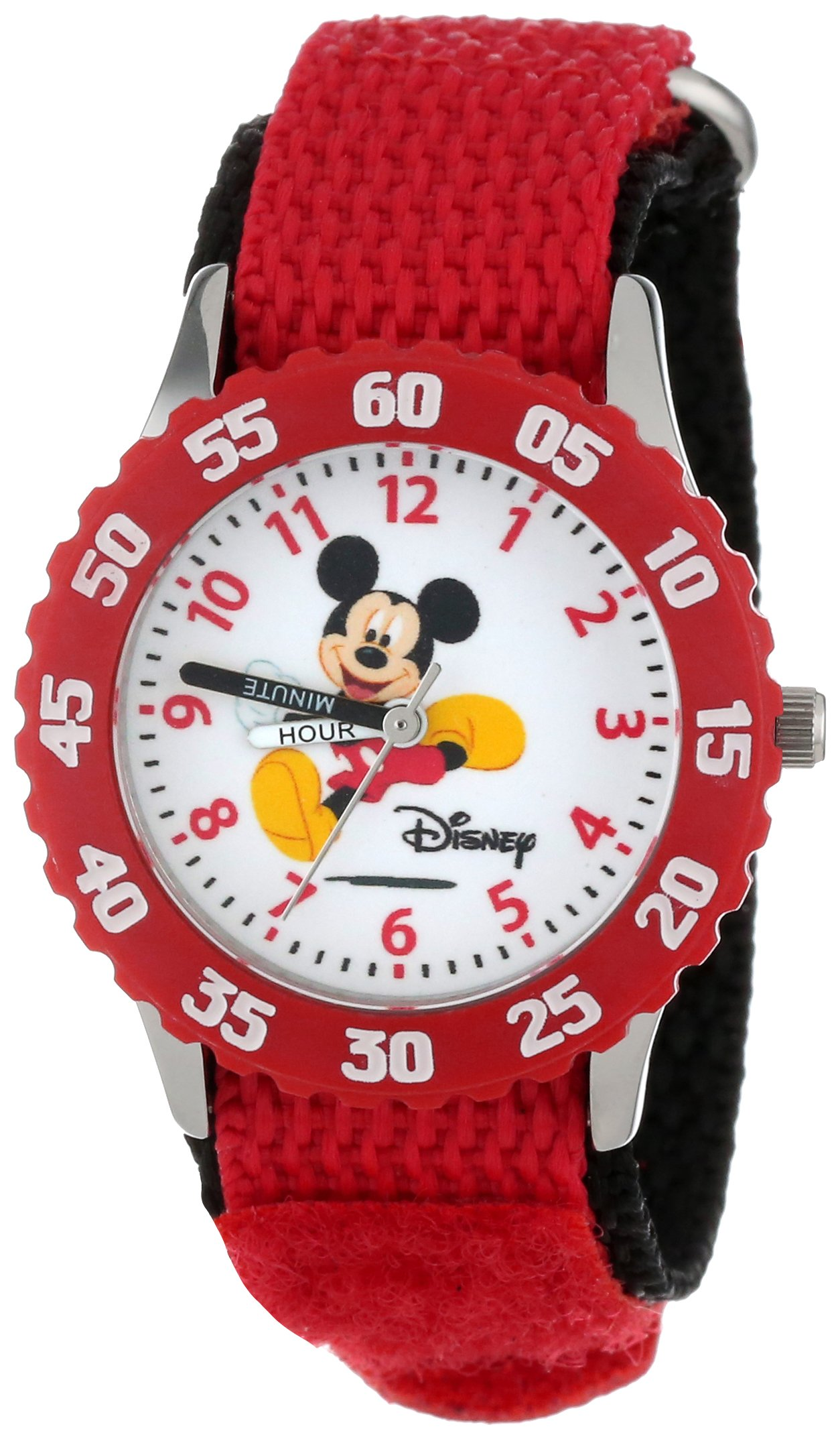 Disney Kids' W000003''Time Teachers'' Mickey Mouse Stainless Steel Watch with Two-Tone Nylon Band