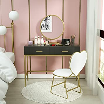 Black Mecor Vanity Table Set,Large Round Removable Mirror,Wood and Metal Makeup Vanity Heart Shape Cushioned Stool,Home Office Desk Girls Women Bedroom Furniture