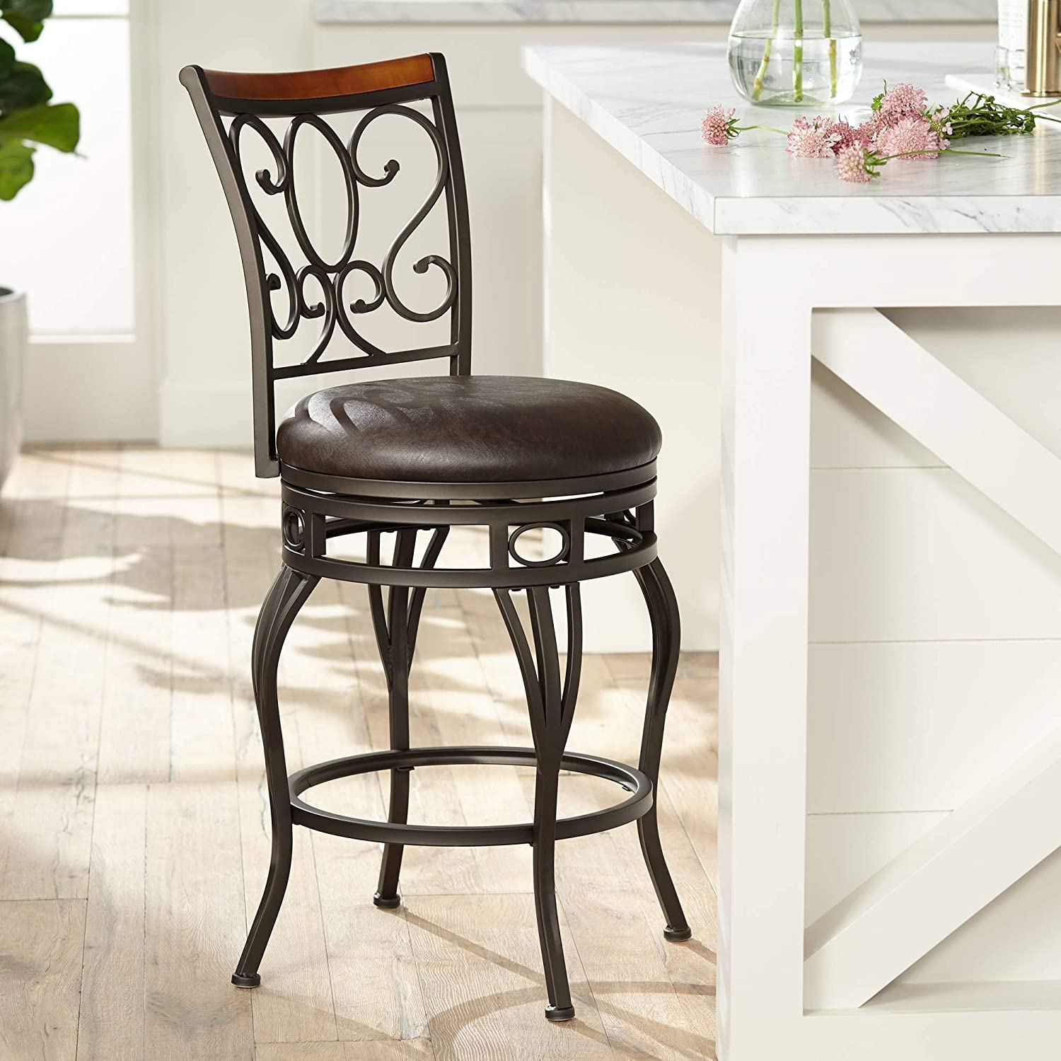 Trevi Wood and Bronze Metal 26 Swivel Counter Stool