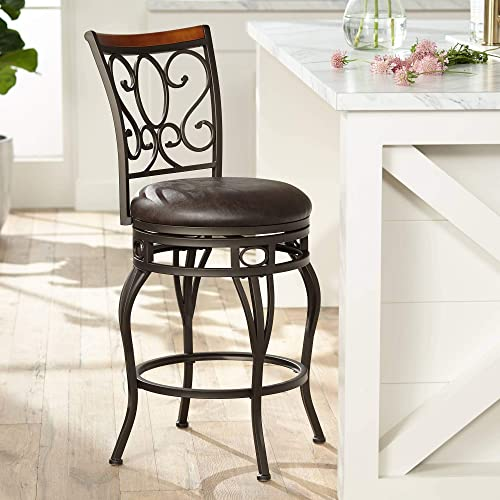 Trevi Wood and Bronze Metal 26″ Swivel Counter Stool