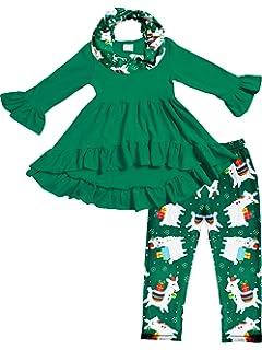 Amazon.com: bebé Girl Navidad Outfit Ruffles Tunic Dress ...