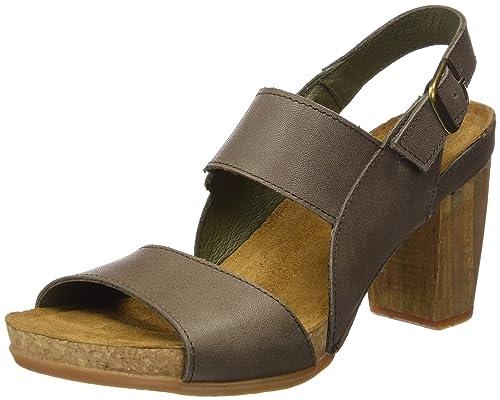 S.A N5020 Ibon Kuna Zapatos de Tacón con Punta Abierta, Mujer, Marrón (Wood), 40 EU (7 UK) El Naturalista