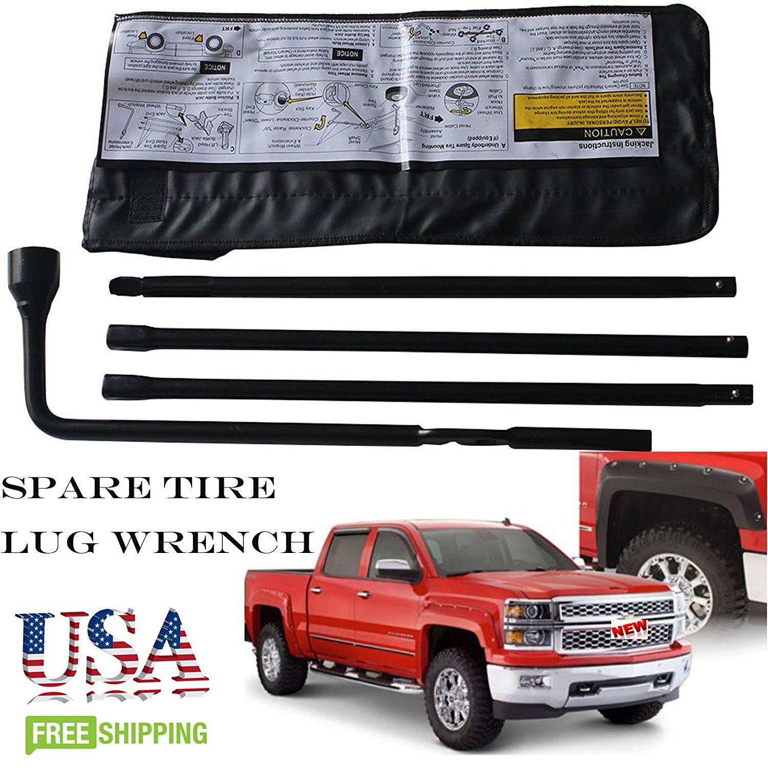 For 2004-14 Chevrolet Silverado GMC Sierra Spare Tire Lug Wrench Tool Kit & Storage Case 22969377 20782708 Replacement