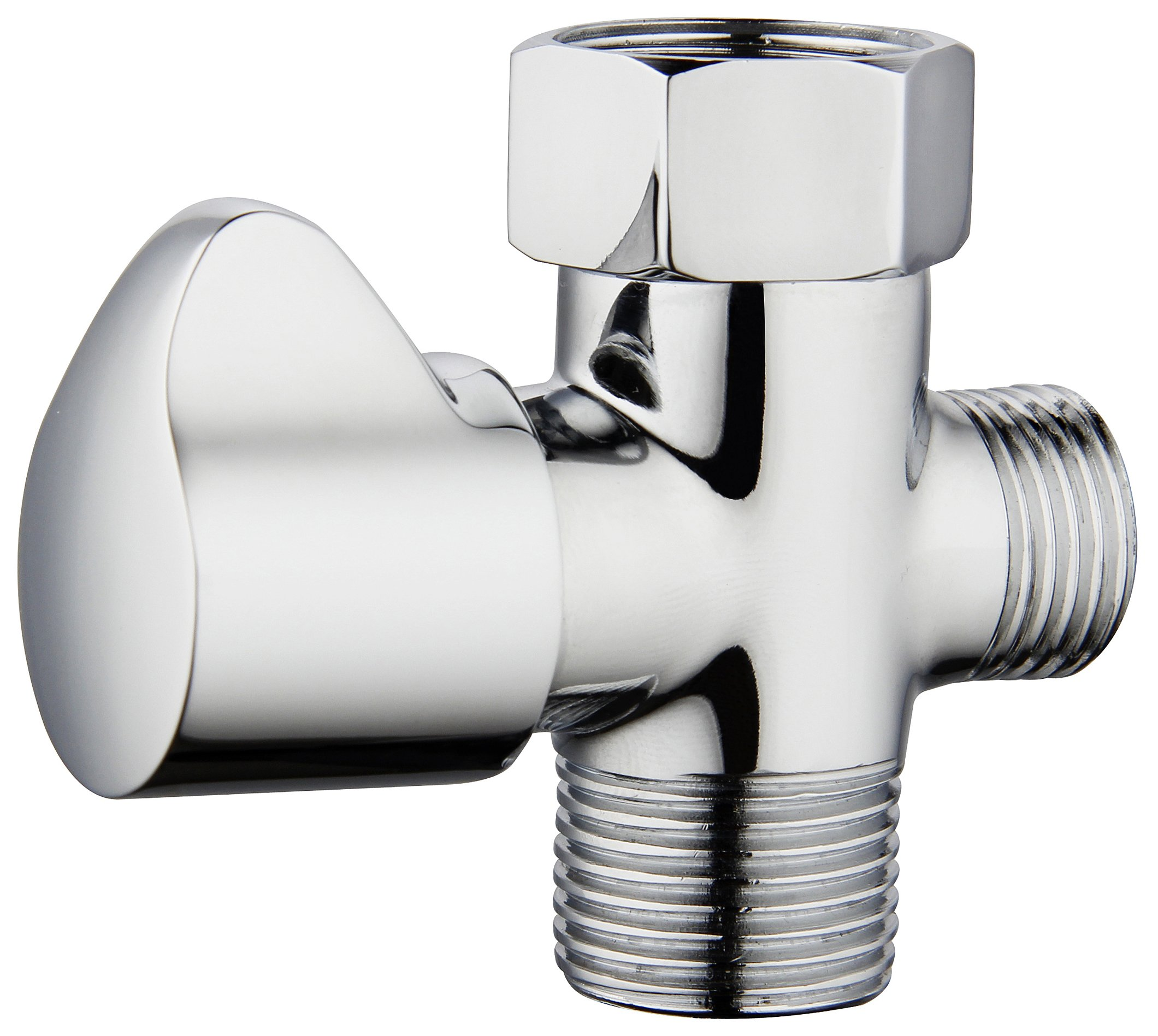 Derengge HP-013-CP Brass T-adapter with Shut-off Valve for Bidet, Chrome