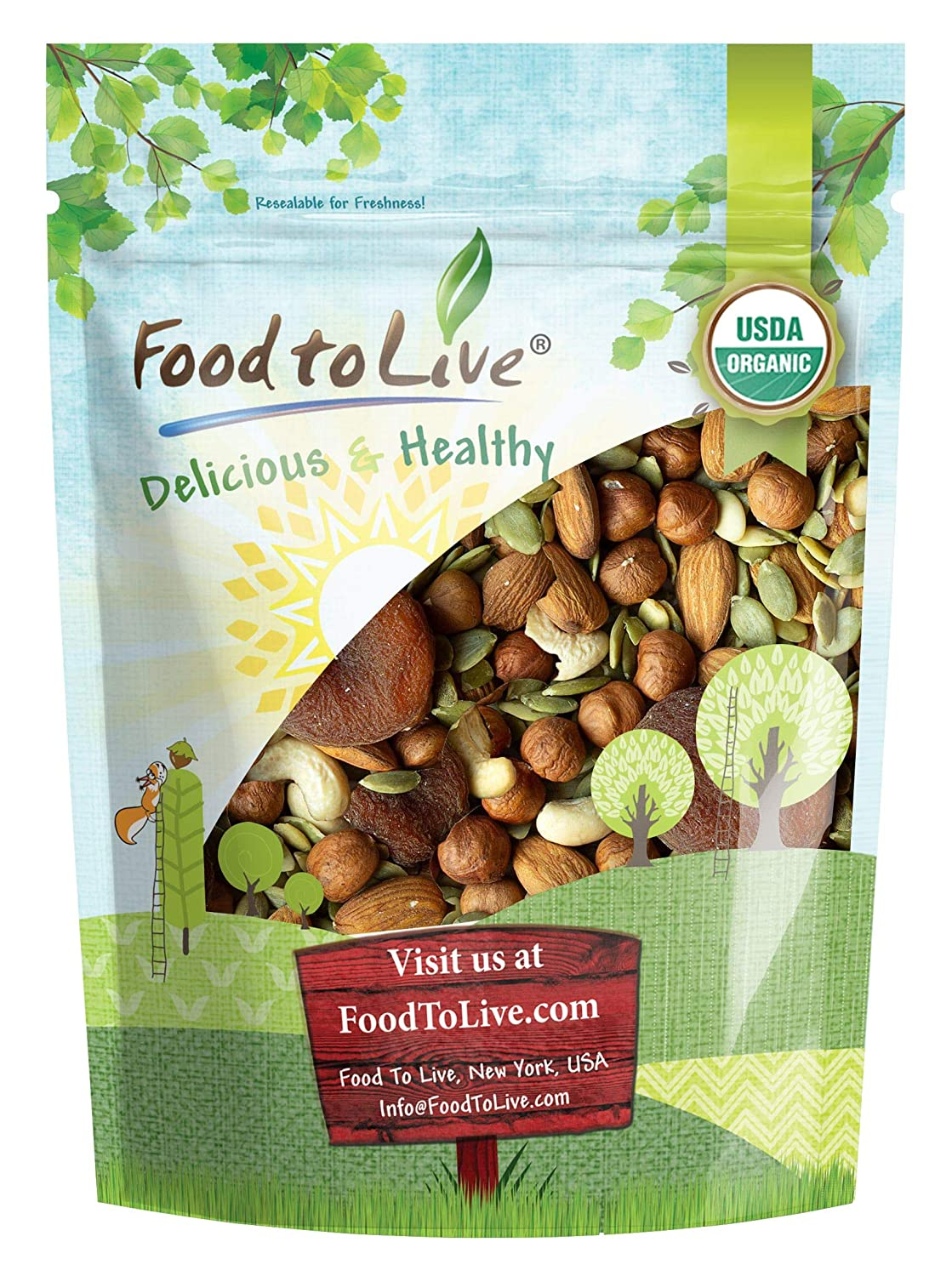 Organic Active Life Trail Mix, 2 Pounds — Raw and Non-GMO Snack Mix Contains Cashews, Pumpkin Seeds, Apricots, Hazelnuts, Almonds. Vegan Superfood, Kosher, No Added Sugar, Bulk