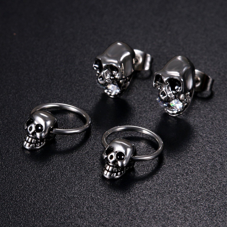 Cospaly Lot de 4 boucles doreilles en acier inoxydable avec zircone cubique Motif t/ête de mort punk rock gothique