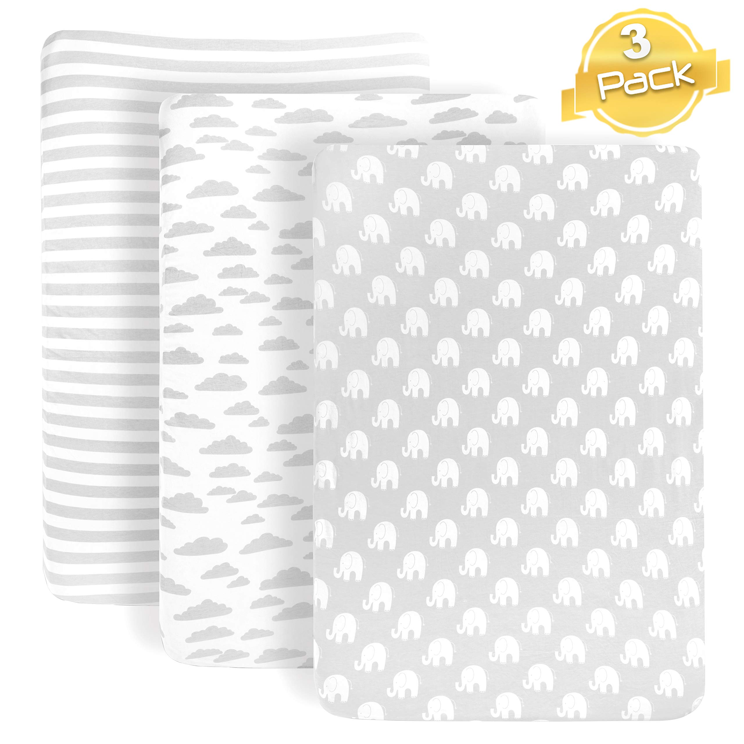 Pack n Play Playard Sheets Set | 3 Pack | 100% Super Soft Jersey Knit Cotton (150 GSM) | Portable Mini Crib Mattress Fitted Sheet for Boys & Girls by BaeBae Goods by BaeBae Goods
