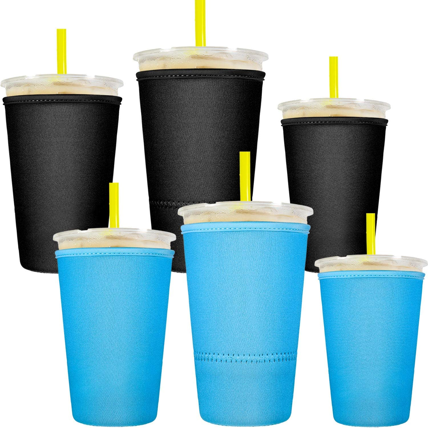 6 Pieces Reusable Iced Coffee Cup Sleeve Neoprene Cup Cover Drink Insulator Sleeves Insulated Sleeves Drinks Holder for 10 oz to 32 oz Cold Hot Drink Beverages Cup Bottle (Blue and Black)