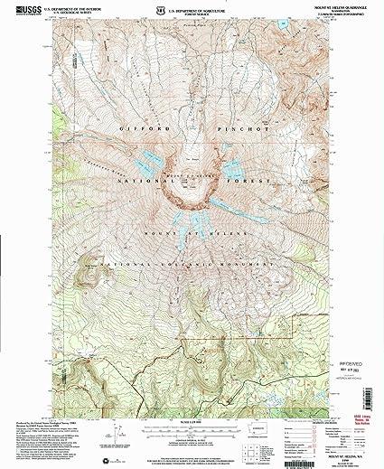 Mt St Helens Washington Map.Amazon Com Yellowmaps Mount St Helens Wa Topo Map 1 24000 Scale