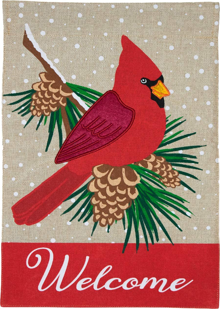 "Briarwood Lane Cardinal Winter Burlap Garden Flag Welcome Pinecones 12.5"" x 18"""
