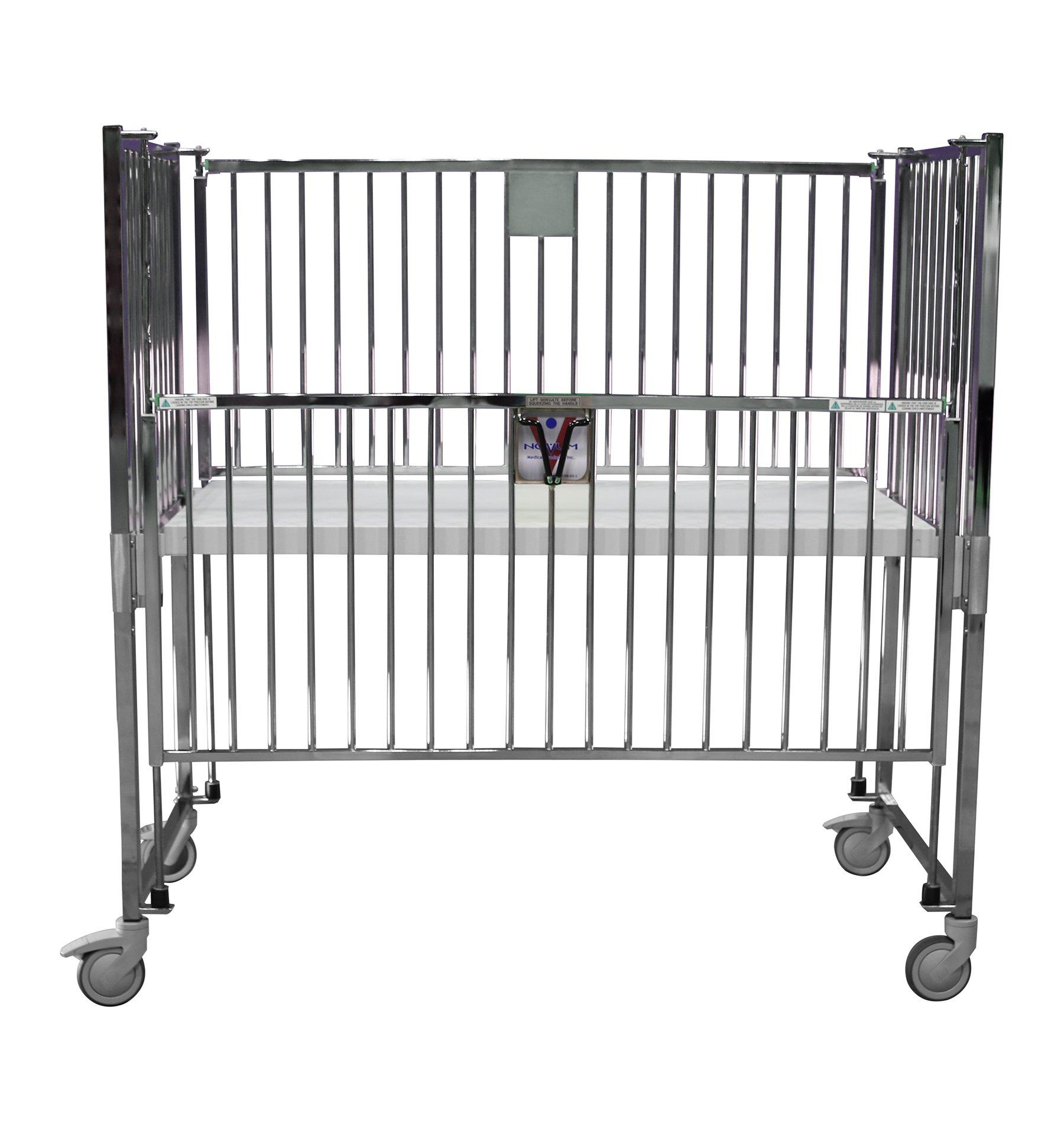 Crib, Child, Flat Pan, 30 x 60, Chrome