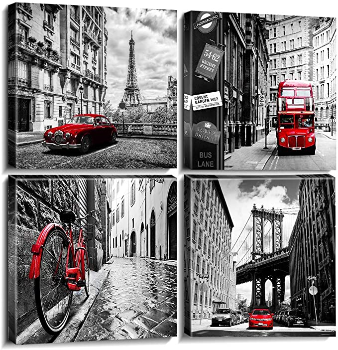 Black And White Red City Landscape Canvas Wall Art For Bedroom Living Room Decor Framed Paris London New York Cityscape Buildings Pictures Bathroom Office Home Decoration 12 12 Inches Set 4 Panels