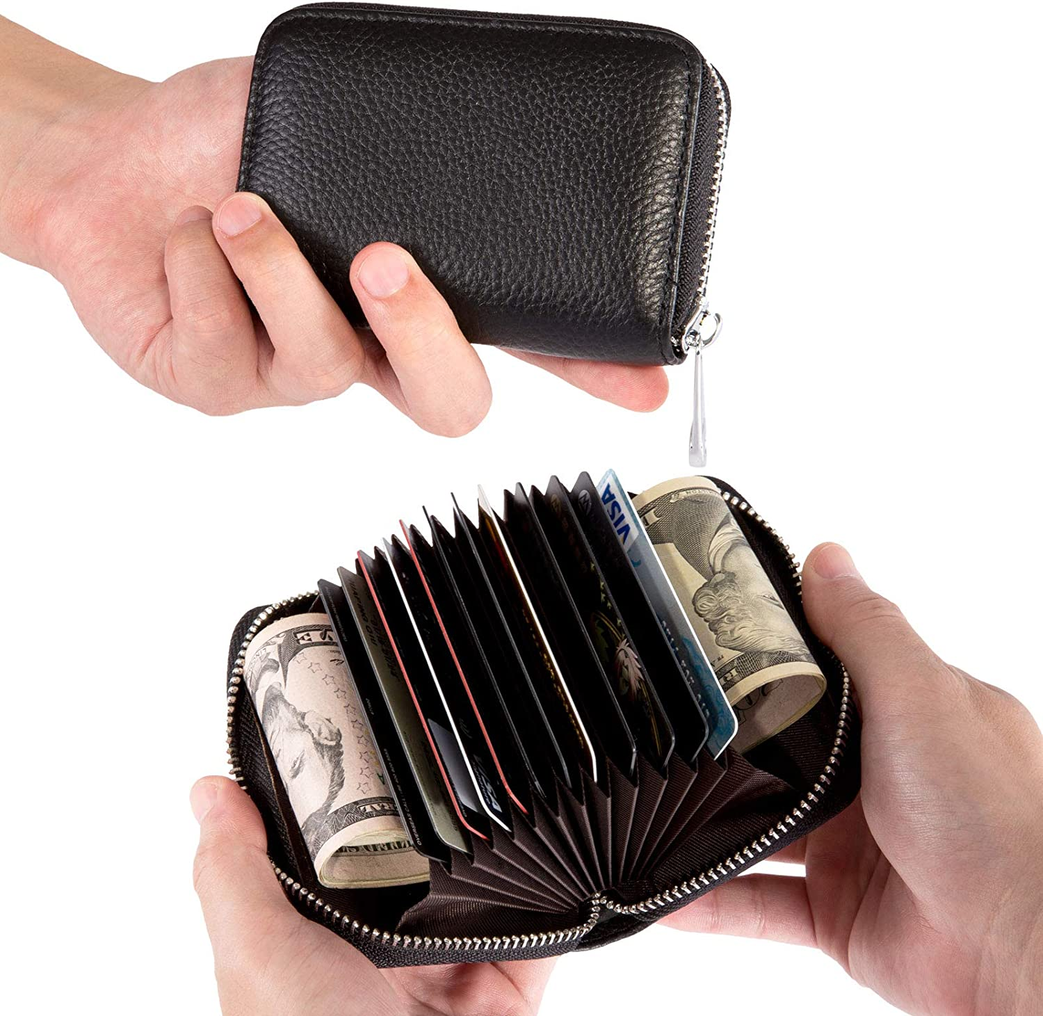 Kesoto Genuine Leather Credit Card Holder Zipper Wallet With 12 Card Slots