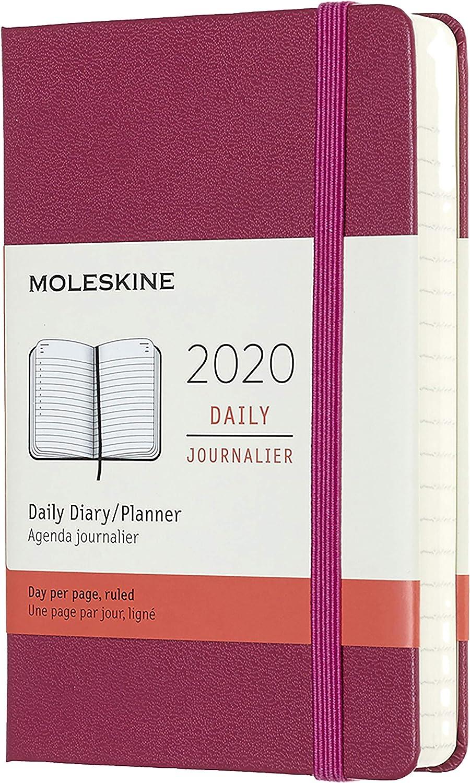 Moleskine - Agenda Diaria de 12 Meses 2020, Tapa Dura y Goma Elástica, Tamaño Pequeño 9 x 14 cm, 400 Páginas, Rosa Enérgico (AGENDA 12 MOIS)
