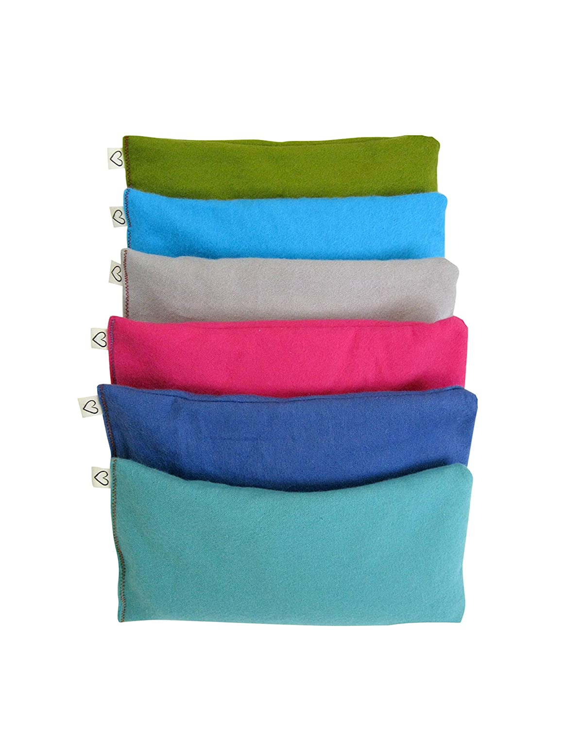 Peacegoods Unscented Organic Flax Seed Eye Pillow - Pack of (6) - Soft Cotton Flannel 4 x 8.5 - Pink Green Purple Gray Fuschia Aqua Turquoise Blue