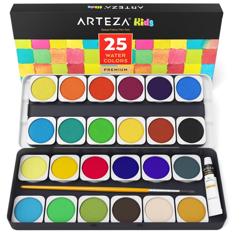 ARTEZA Kids Premium Watercolor Paint Set, 25 Vibrant Color Cakes, Includes Paint Brush (Set of 25)