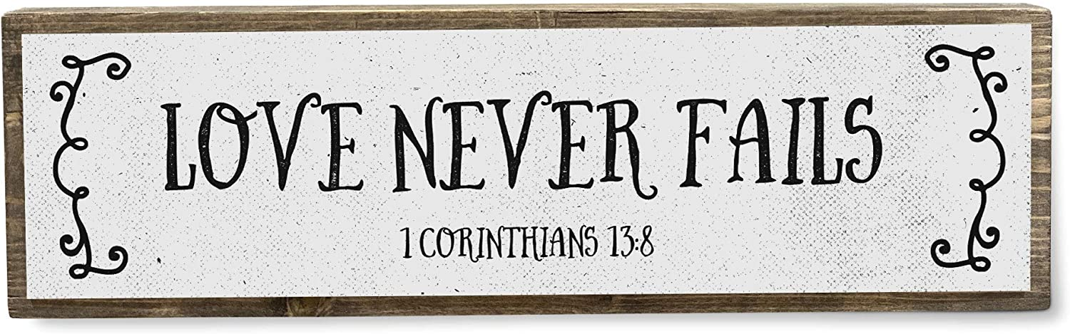 ANVEVO Love Never Fails - Metal Wood Sign Light - Bible Verse Decorations for Home - Rustic Farmhouse Decor - Rustic Wall Art - Home Decor Modern Home Decor