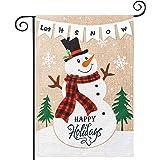 hogardeck Christmas Garden Flags, Merry Christmas Banners, Vertical Double Sided Burlap Flags, Happy Holidays Yard Flags Chri