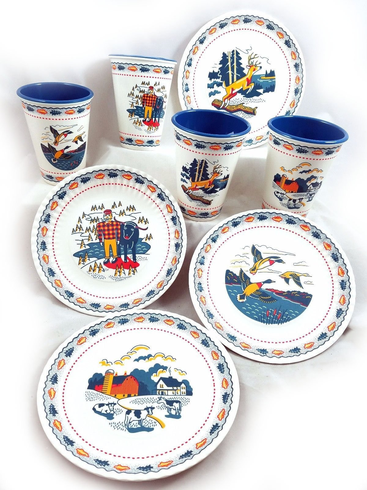 In The Woods Retro Melamine Snack Plates and Cups Set of 8 New Fishing Camping by 180 Degrees (Image #1)