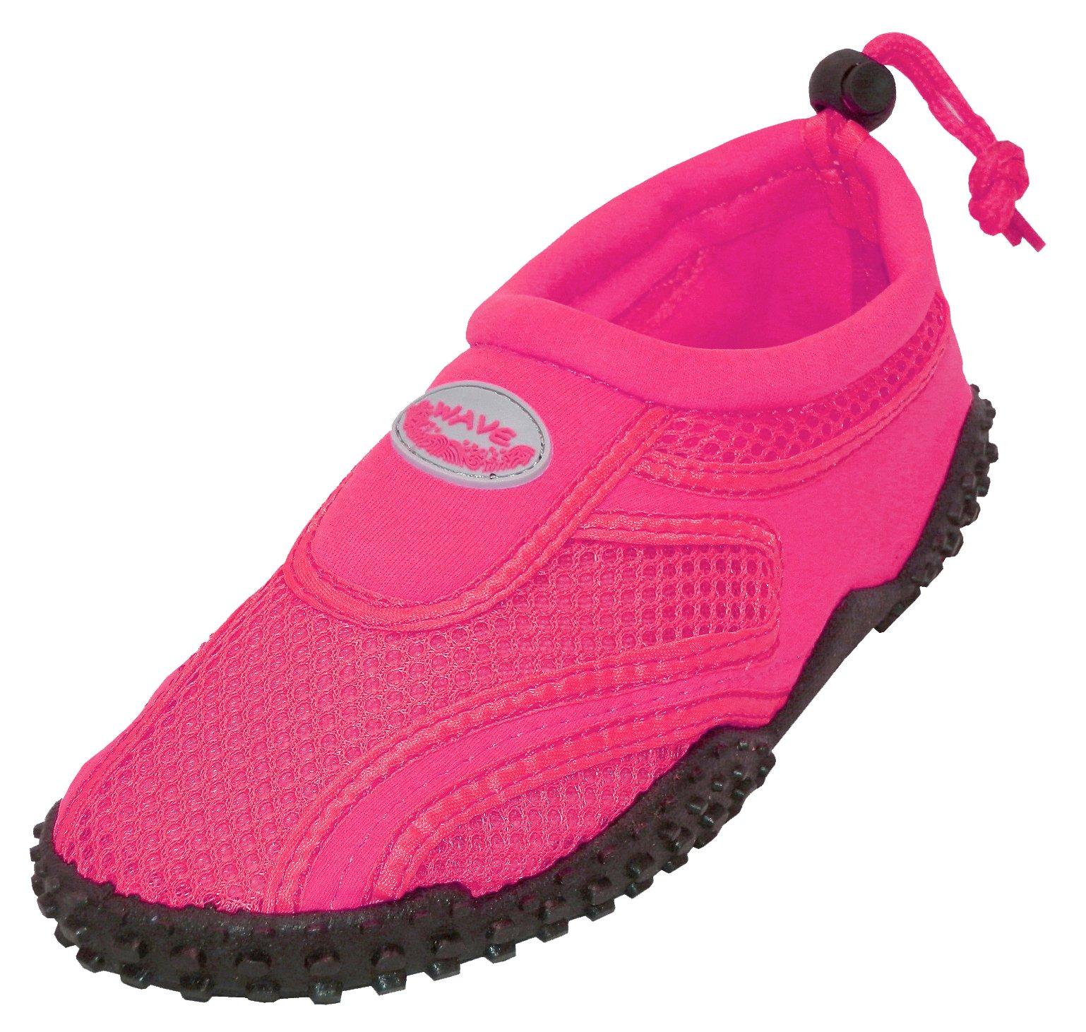 Cambridge Select Kids' Mesh Quick Dry Slip-On Drawstring Non-Slip Water Shoe (Toddler/Little Kid/Big Kid),5 M US Toddler,Neon Fuchsia