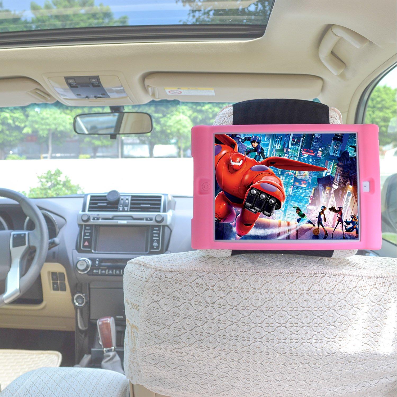 TFY Car Headrest Mount Holder with Detachable Lightweight Shockproof Anti-slip Soft Silicone Handle Case for iPad Mini 4 (Black) 6imini4mount_blk-RL
