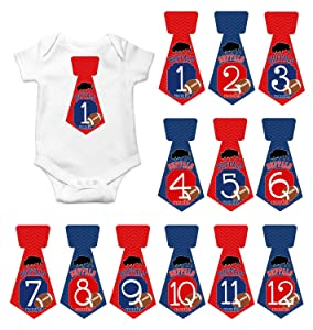 Gift Set of 12 Tie Keepsake Photography Monthly Baby Stickers with New York Buffalo Bills Football T078