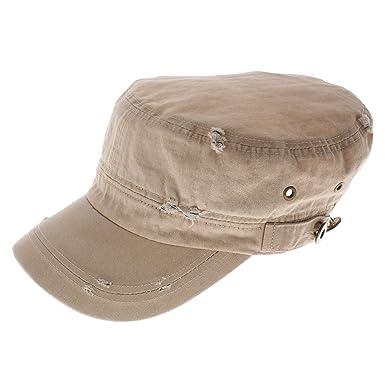 FLATSEVEN Womens Designer Vintage Washed Military Cap (Z120) Beige ... 2d49508bb1