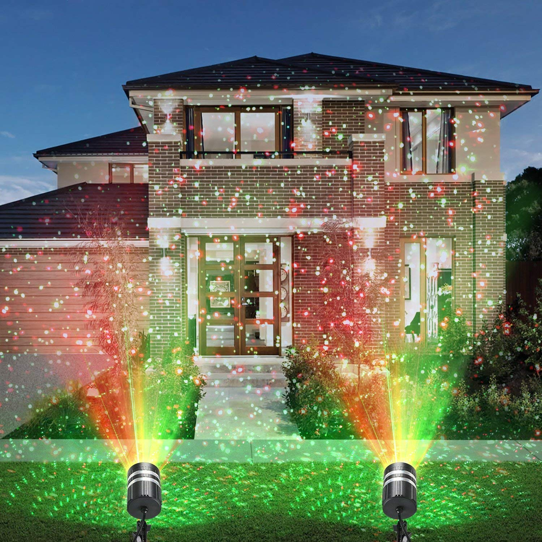 CAMTOA LED Projektionslampe Weihnachten Projektor Beleuchtung Doppelter Kopf IP