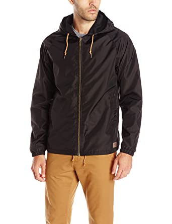 Amazon.com  Brixton Men s Claxton Hooded Water Repellant Windbreaker ... 4650a53b8e3