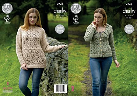 53a62448f68ed8 Image Unavailable. Image not available for. Colour  King Cole 4741 Knitting  Pattern Womens Raglan Sweater and Jacket in King Cole Chunky Tweed