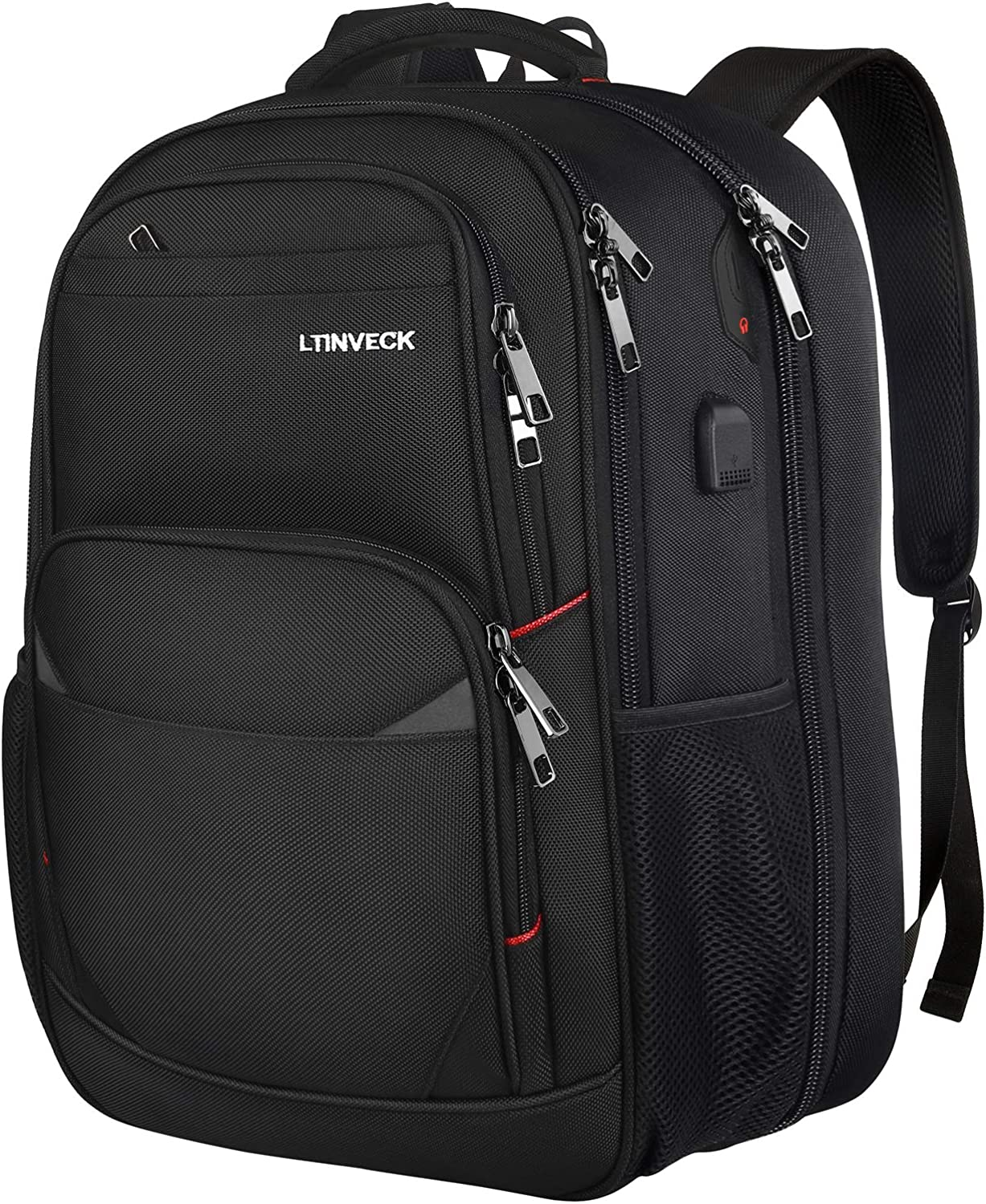 Travel Laptop Backpack,17.3 Inch Extra Large Capacity College School Bookbags with USB Charging Port,TSA Friendly Business RFID Anti Theft Pocket,Durable Heavy Duty Big Computer Backpack for Men Black