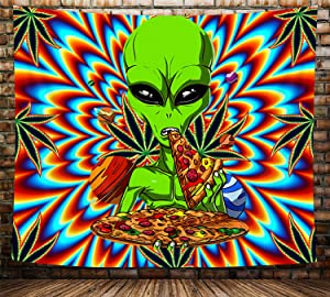 Cool Weed Tapestry for Men, Psychedelic Trippy Funny Alien Tapestry Wall Hanging, Marijuana Leaf Stoner Alien Hippie Tapestry for Bedroom Aesthetic Colorful Wall Blanket for Livingroom Dorm, (60X40in)