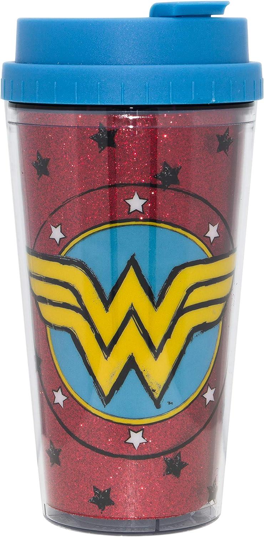 DC Comics WW1132B2G Wonder Woman Sketch Logo Glitter Double Wall Plastic Travel Mug, 16-Ounce, Red and Blue