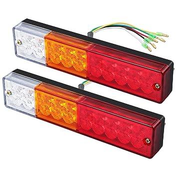 justech 2pcs trailer rear lights led rear brake lights tail rh amazon co uk