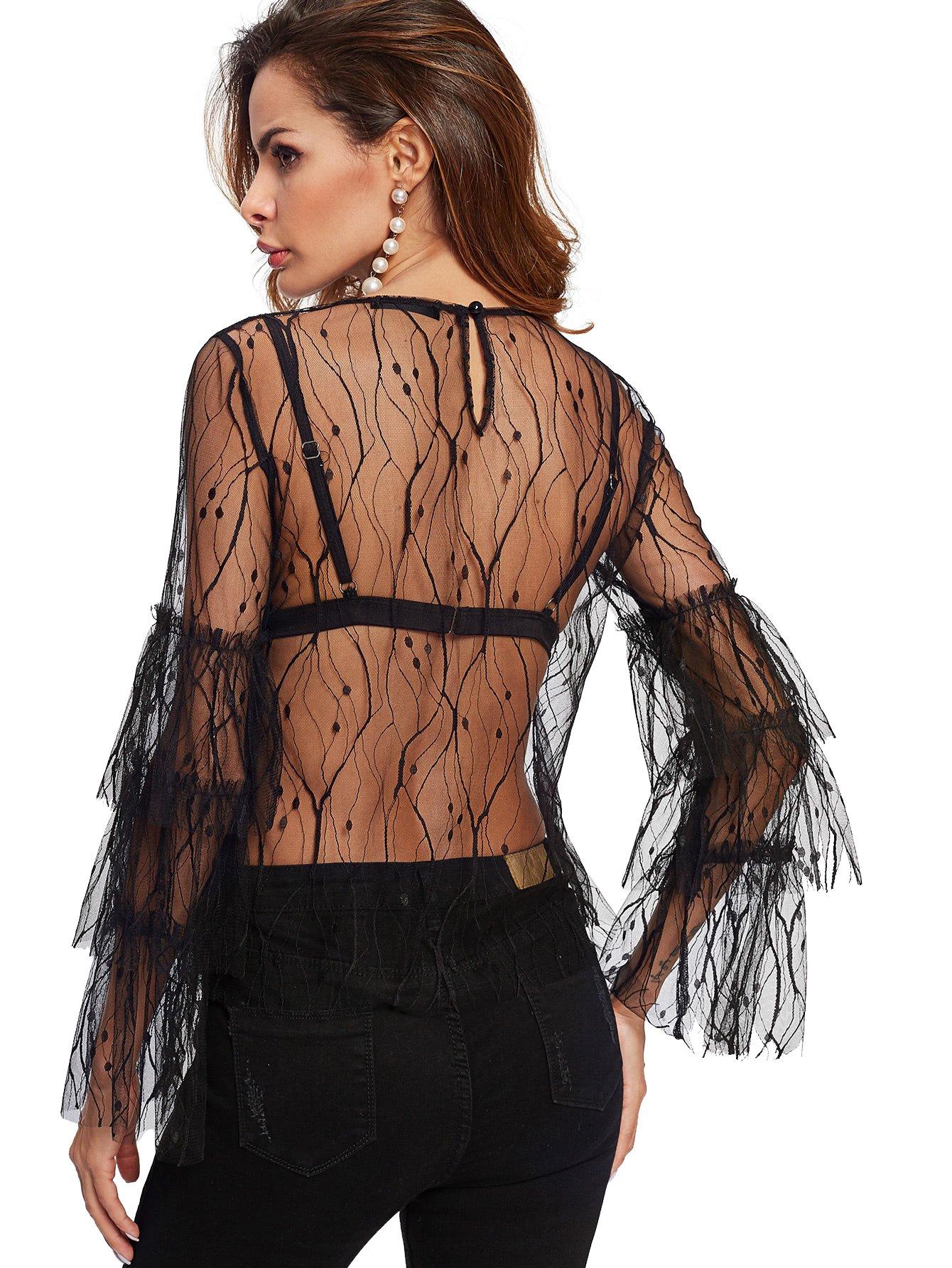 ecd2f83a48 WDIRA Women's Sexy See Through Ruffle Sleeve Mesh Tops T Shirts Black L