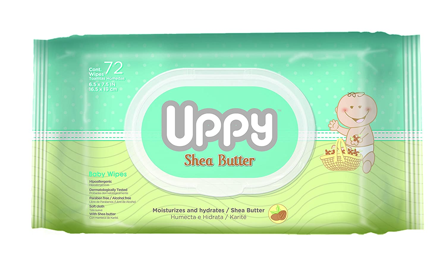 Amazon.com : UPPY Soft Cloth Hypoallergenic Baby Wipes, Shea Butter, 72 Count : Baby