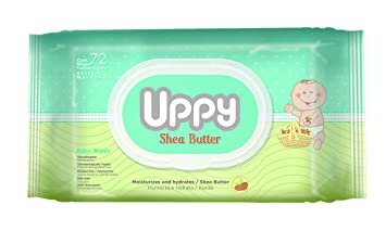 UPPY Soft Cloth Hypoallergenic Baby Wipes, Shea Butter, 72 Count
